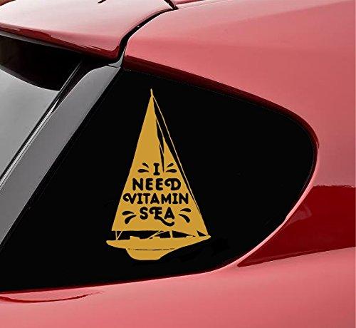 Slap-Art Adhesivo de vinilo con texto en inglés 'I Need Vitamin Sea Sea', color dorado