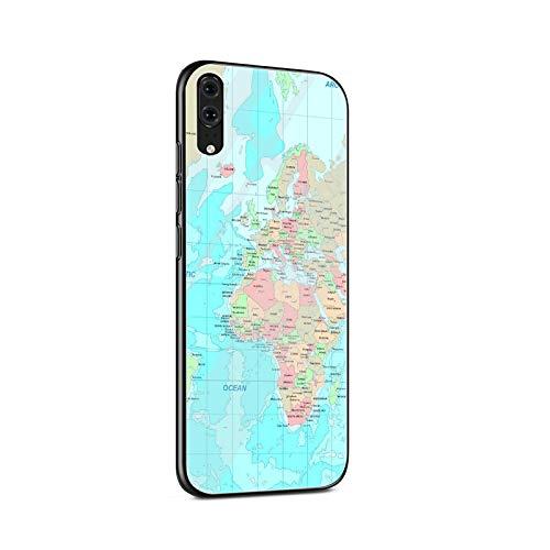 Mapa del mundo de vidrio templado caso del teléfono para Huawei P10 P20 P30 Lite P20 P30 Pro P smart Protection Cover Coque-G15-para Huawei P20