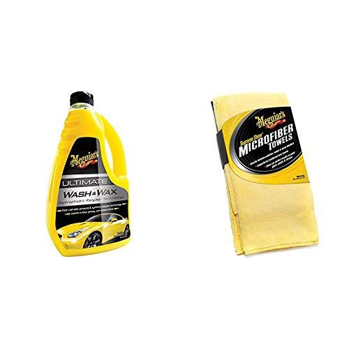 Meguiar's G17748EU Ultimate Wash & Wax Autoshampoo, 1420 ml & X2020EU Supreme Shine Mikrofasertuch, 3er Pack