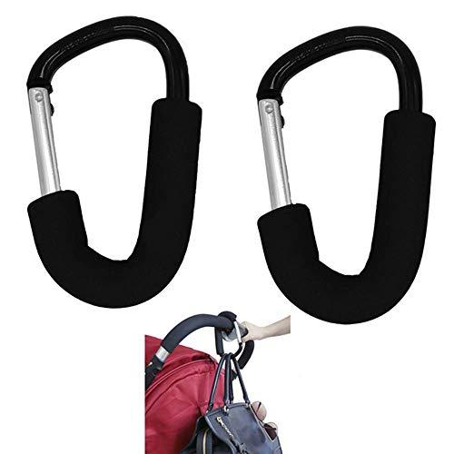 Kinderwagen Haken Kinderwagen Kleiderbügel Verpackung Aufhänger Haken Aluminiumlegierung Universal XL zum Einkaufen oder Wandern Organizer Assistant 2 stücke, 3,9x6,3 '