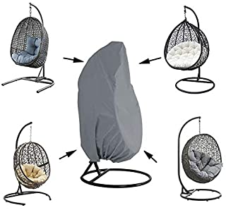 Silvotek Patio Hanging Chair Cover - Waterproof Outdoor Hanging Egg Chair Cover with Durable Hem Cord, 210D Oxford Wicker ...