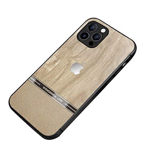 Svnaokr Compatible con iPhone Funda Ultra Delgada Silicona Goma Protección de cuerpo entero Case Resistente (Madera, Para iPhone 12ProMax)