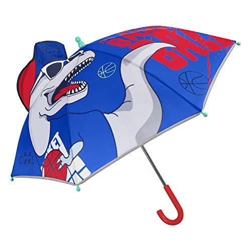 Dinosaurier Basketball Spieler Regenschirm Reflektierend für Kinder mit Pop Up Kappe - Jurassic T Rex Kinderregenschirm Blau Rot - Dino Saurier Regen Schirm Jung 3/6 Jahre - Durchm 76 cm - Perletti