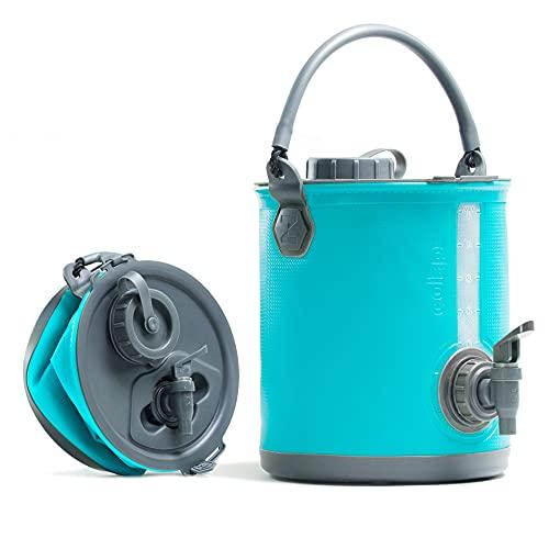 Colapz 2-en-1 – Réservoir d'Eau Pliable pour Le Camping – Jerrican Alimentaire - Seau pour Camping-Car – Distributeur d'Eau avec Robinet - Bleu