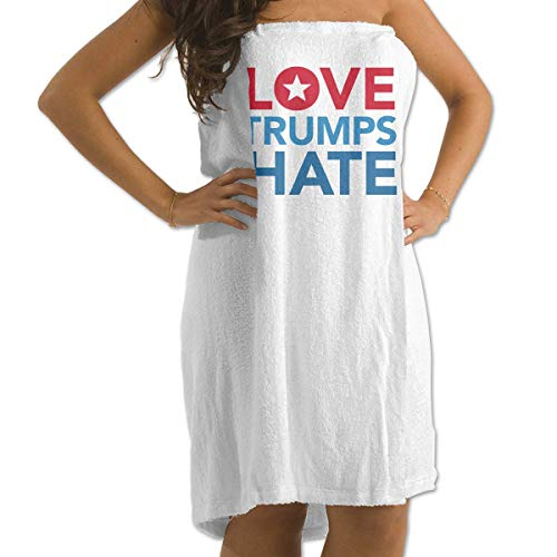 Mathillda Badetuch Love Trumps Hate Prints Badetuch Wrap Womens Spa Dusche und Wickeltücher Schwimmschal Bademantel Cover Up für Damen Mädchen - Weiß