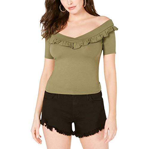 GUESS Kae Damen Bluse mit kurzen Ärmeln und Rüschen - Gr�n - Klein