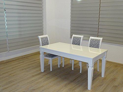 Mesa de salón, mesa de cocina, mesa de comedor, color blanco brillante, lacado, resistente a los arañazos, ancho 180 cm