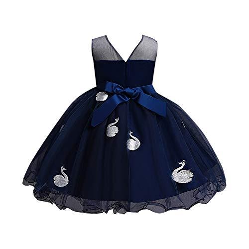 BOIYI Disfraz de Princesa Chicas Fancy Vestido de Cisne Princesa Flor Desfile de Nios Vestido de Cosplay de Carnaval, Halloween y la Fiesta de Cumpleaos Vestidos Vestido de Fiesta(Azul Oscuro,130)