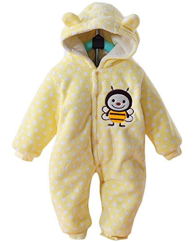 Minetom Unisex Bebés Recién Nacido Grueso Terciopelo Coral Mameluco Invierno Pelele Pijamas Niños Niñas Monos Caricatura Trajes Abeja Amarillo 3-4 Meses (56)