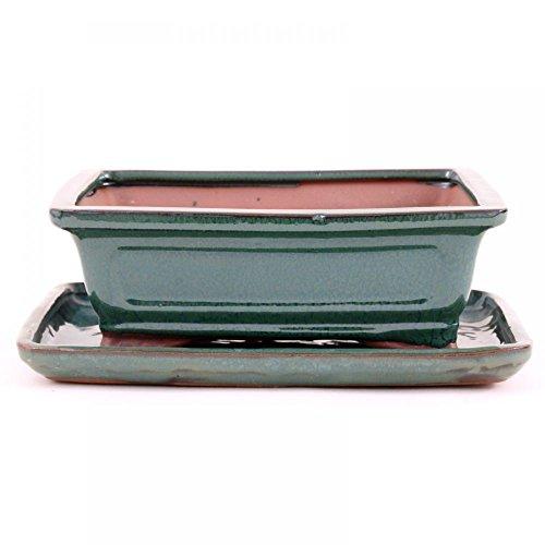 Bonsai - Schale mit Untersetzer eckig 21,5 x 16,5 x 7,5 cm, grün 23115