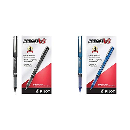 Pilot Precise V5 Stick Rolling Ball Pens Precision Point Ink .5mm Pack of 12 Black, Patented Precision Point Technology & Precision Point Ink .5mm, Blue, Patented Precision Point Technology