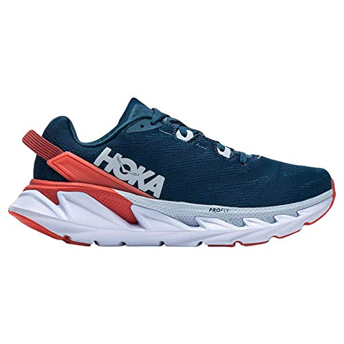 HOKA ONE ONE Womens Elevon 2 Textile Synthetic Moroccan Blue Hot Coral Trainers 6 US