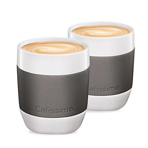 Tchibo Cafissimo Becher oder Tassen aus Porzellan mit Silikonmanschette, 2er Set (XL Becher, grau)