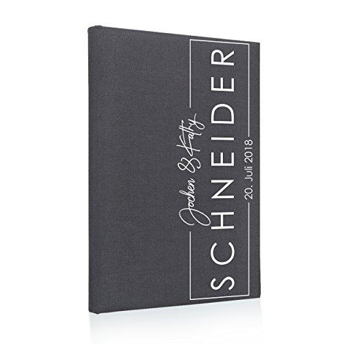 Hochzeitideal Stammbuch der Familie, Familienstammbuch, Buchbinderleinen grau, Nr. 173_A inkl. Personalisierung