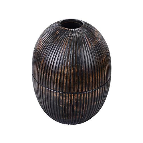 Villacera Vase ovale fait main 25,4 cm de haut en forme de mangue noire avec lignes décoratives sculptées pour pot de fleurs ou pot de fleurs en bois durable