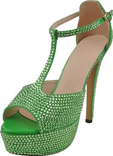 Find Nice Damen Peep Toe Mary Jane Pumps mit Absatz, Strass, sexy, für Hochzeit, Brautkleid, Grün - grün - Größe: 39.5 EU