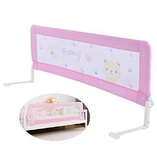 Bambini Letto Rails, Barriera per letto portatile per neonati bambino, Barriera di sicurezza pieghevole,Sponda di Sicurezza Portatile, Protezione di caduta (1.8M, rosa)