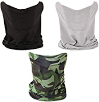 3 PCS Neck Gaiter Fishing Mask Bandana Sun Wind Dust Protection UV Headwear Balaclava Magic Scarf for Men Women Hunting,...