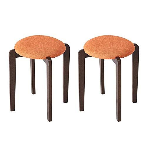 JIEER-C Vrijetijdsstoel, eetkamerstoel, rubber, hout, moderne meubels, kaptafel, rond, kruk van linnen, 40 x 40 x 47 cm, duurzaam, robuust 2 pieces Oranje.