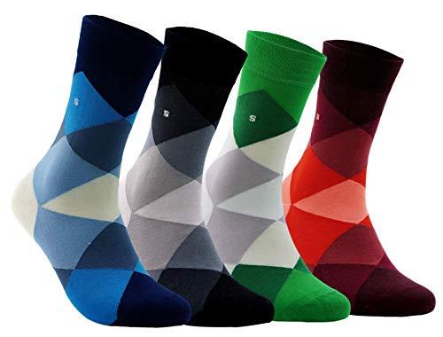 BAMBUS SOCKEN - Neues Modedesign Superweich & Atmungsaktiv, Nahtlos, Anti Schweiß, Natürliche Bambusfaser für Herren & Damen, Business & Freizeit - Großer Argyle (Gemischte Farbe, 4 paar)