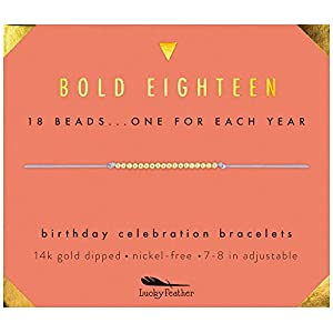 "Lucky Feather Milestone 18th Birthday Gifts for Girls – 14K Gold Dipped Beads Bracelet on Adjustable 7""- 8"" Cord – Bold 18 Year Old Girl Gifts"