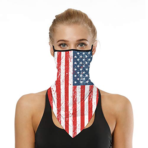 SRVOKOX Red White Blue American Flag USA Bandana Neck Gaiter Face Mask Covering Bandanas for Men Women Summer UV Cooling Face Scarf Mask Cover Ear Loop Hole Triangle Facemask for Fishing Running