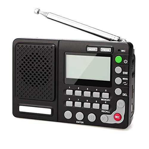 Radio portátil, Banda mundo de recepción Rec grabador con temporizador de apagado Bajo Diafragma Grande Frecuencia con pantalla de visualización y volumen, conveniente for la búsqueda de emisoras de r