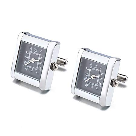 SuoSuo LZWJD Enlaces Funcional Reloj Gemelos Plaza Real del Reloj Brazalete con la batería del Reloj Digital de la mancuerna puños Gemelos Relojes (Metal Color : Black1 Color)