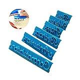 Estampadores de Word de panadería, 6 Piezas de decoración de moldes de Bricolaje Alfabeto Número Letra Impress Set Cookie Biscuit Stamp Embosser Cutter Gift
