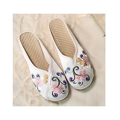 HOUFT Slips de Punta de Punta sin Respaldo de Las Mujeres Planos de Bordado Retro de Estilo Chino Zapatos de Tela de Beijing Viejos, Sandalias y Zapatillas Antideslizantes de Hebilla Retro