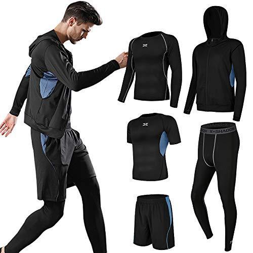 Superora 5 Pezzi Fitness Palestra Completi Sportivi Uomo Abbigliamento Sportivo Pantaloni Compressione Maglie Maglietta Pantaloncini Corsa Leggings Set Uomo (Blu, XL=EU M)