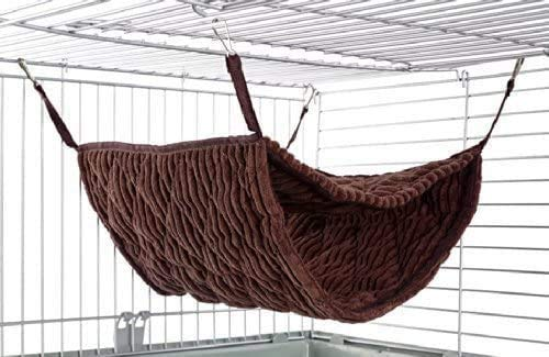 SHOE SLOTZ Pet Cage Hammock, Double-Layer Binding Hammock, Soft Plush Cat Hammock Cage Hanging Bed Can Accommodate 2 Adult Ferrets or 5 Adult Rats (Brown)