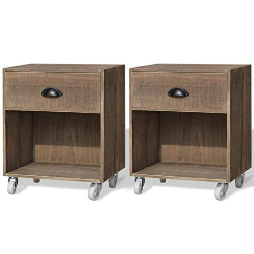 Shelf Set of 2 Bedside Tables with Wheels Bedside Table Sofa End Table with Drawer Solid Wood Side Table Coffee Table Mobile for Bedroom Living Room Hallway Office 38 x 31.5 x 46.5 cm Shelf Brackets