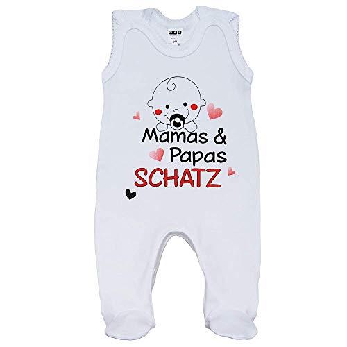 MEA BABY Unisex Baby Strampler mit Spruch Mamas & Papas Schatz,100% Baumwolle. Baby Strampler Weiß. Baby Strampler für Mädchen Baby Strampler für Jungen. (62)