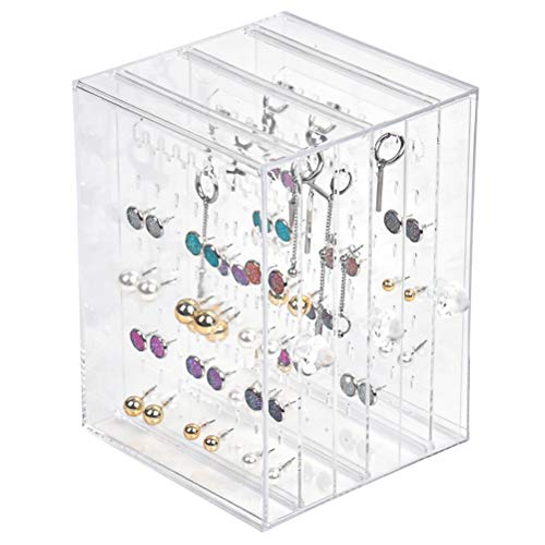 YANSHON Clear Earring Holder Rack 3 Layers Jewellery Organizers Earring Display Rack Acrylic Jewellery Hanging Holder for Earring, Rings, Bracelet etc