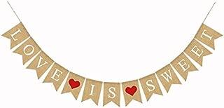 Love is Sweet Burlap Banner,Vintage Wedding Bridal Shower Decorations Supplies,2.8 M/9.1 Feet