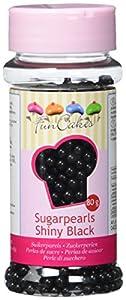 FunCakes Perlas de Azúcar de 4mm Negro Brillante: Sprinkles para Tartas, Gran Sabor, Perfecto para Decorar Tartas, Cientos y Miles de Sprinkles. 80 g
