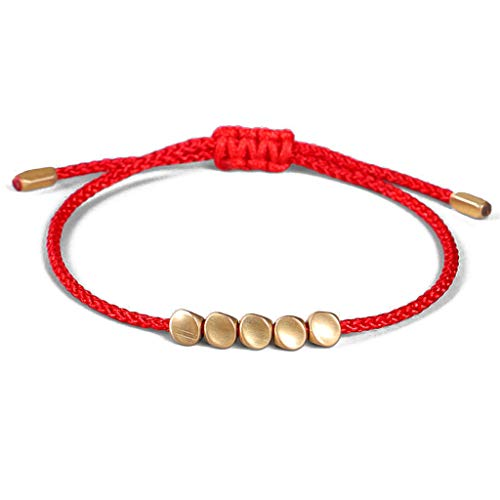 WE-WHLL Handmade Braided Cotton Luck Rope BraceletTibetan Copper Bead Bracelet Buddhist Good Luck Success Amulet Fashion Jewelry-Red