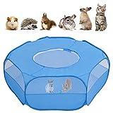 Majome Parque de juegos de animales pequeños transpirable para mascotas con cubierta con cremallera para exterior/interior, tienda de campaña portátil azul para cachorro/gatito/conejos/hámster