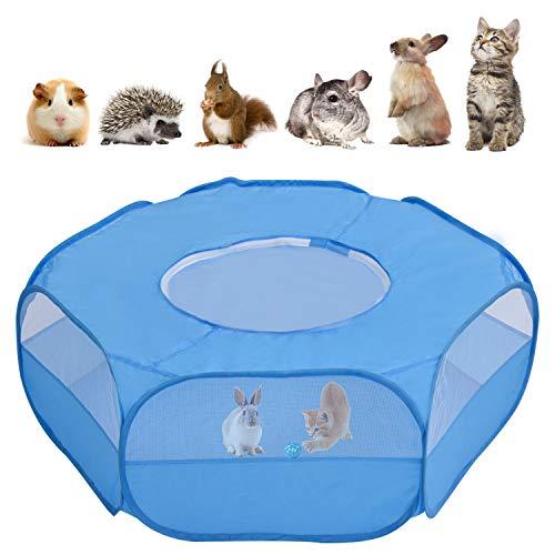 Majome, box per animali di piccola taglia traspirante, per animali domestici, con copertura con cerniera, tenda portatile per cucciolo/gattino/conigli/criceto/cincillà/porcellino d'India