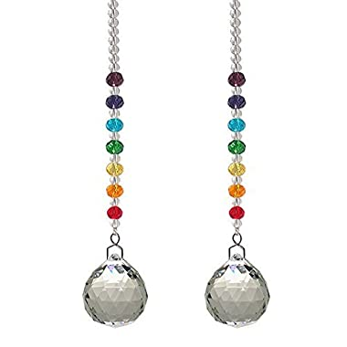Newmerry 30mm Crystal Prism Ball Chakra Colors Rondelle Beads Strand Design Rainbow Suncatcher,Pack of 2