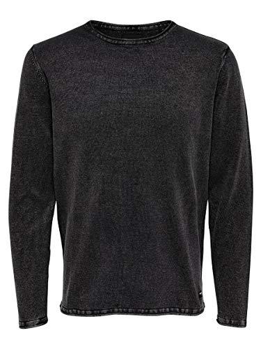 Only & Sons Onsgarson Wash Crew Neck Noos suéter, Negro (Black Black), Medium para Hombre