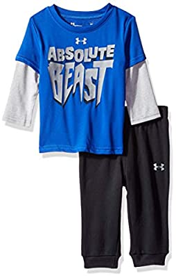 Under Armour Boys' Baby Two Piece Graphic Tee and Pant Set, Royal Absolute Beast, 18 Months