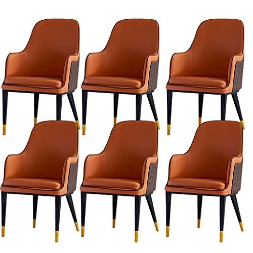 ADGEAAB Juego de 6 sillas de comedor de cocina modernas de cuero con respaldo alto, acolchado suave, sillones de salón, patas de metal, sillas de recepción (color: naranja y café)