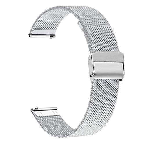 WATORY Compatibile con Daniel Wellington/Fossil Gen 4 Q Venture HR, cinturino in maglia da 18 mm, in acciaio inox, cinturino di ricambio per Withings Activite/Pop/Steel HR 36 mm, argento