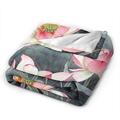 Blanket Lotus Flowers Soft Warm Throw Over Sofa Fleece Bed Blanket for Bed and Couch 50 * 40inch