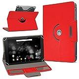 UC-Express TrekStor Primetab P10 Tablet Hülle Tasche Schutzhülle Case Schutz Cover Drehbar, Farbe:Rot