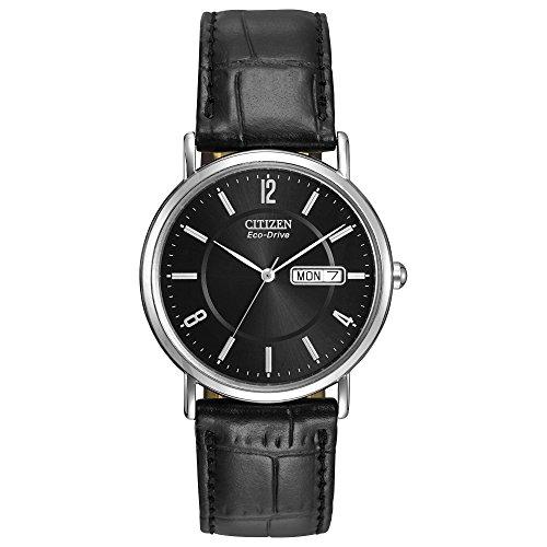 Citizen Eco-Drive Corso Quartz Mens Watch, Stainless Steel with Leather strap, Classic, Black (Model: BM8240-03E)