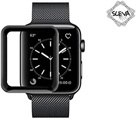 Sceva® Apple Watch 42mm [Full Glue] (Series 3/2/1 Compatible) Tempered Glass Screen Protector 3D Curved Edge 9H Hardness for Apple Watch 42mm - Black