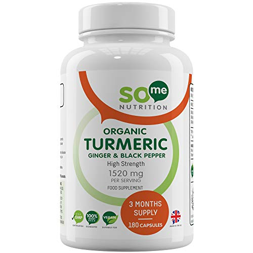 Organic Turmeric Curcumin 1520mg with Black Pepper & Ginger - 180 High Strength Turmeric Capsules (3 Month Supply) – Certified Organic by Soil Association - Made in The UK by So Me Nutrition